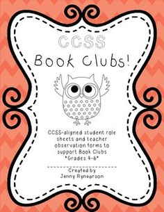 NEW! Common Core Book Clubs! Student & Teacher Pages! OWL Theme! Cute, CCSS-aligned, and ready to print! Where has this been my whole life?!?  :) $