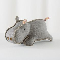 Hip Hippo Plush--so cute! Love the exposed seams and dimensional quality of this. Trying to think of other animals to design like this. A pig? A dog?