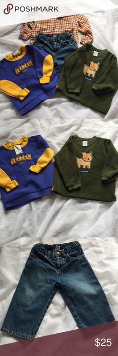 Boy's 18 month bundle Included in your bundle: Nike sweatshirt, Gap puppy fleece, Bonpoint jeans, and Rachel Riley flannel button down. The button down is missing the last button, as pictured. Smoke free home, measurements on request, and offers more than welcomed! Sorry, I do not model the clothes. Bonpoint Other