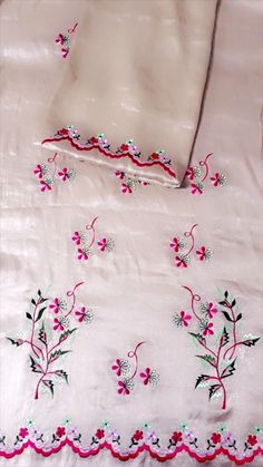 Embroidery Suits Punjabi, Embroidery On Kurtis, Hand Embroidery Dress, Kurti Embroidery Design, Embroidery Fashion, Hand Embroidery Designs, Neck Designs For Suits, Dress Neck Designs, Stylish Dress Designs