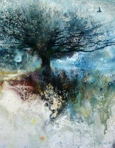 Mixed Media Art and Painting on Canvas is the symbol of creativity artist can show. Mixed media art refers to combining two or more variety of arts together Watercolor Trees, Watercolor Landscape, Abstract Watercolor, Abstract Landscape, Landscape Paintings, Watercolor Paintings, Painting Abstract, Watercolours, Landscapes