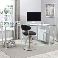 Have to have it. L-Shaped Glass Computer Desk $349.99