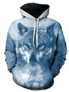 b27f50d29e37 3D Wolf Print Hooded Pullover Hoodie - COLORMIX M Cool Hoodies