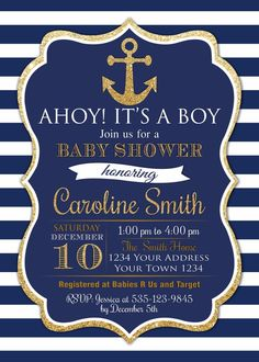 Ahoy Its A Boy. Ahoy Its a Boy Baby Shower Invite. Navy Blue and Go Nautical Baby Shower Invitation. Ahoy Its A Boy. Ahoy Its a Boy Baby Shower Invite. Navy Blue and Go Anchor Baby Showers, Boy Baby Shower Themes, Baby Shower Invitations For Boys, Baby Boy Shower, Baby Shower Invitaciones, Nautical Baby, Nautical Theme Baby Shower, Boy Decor, Baby Shower Centerpieces