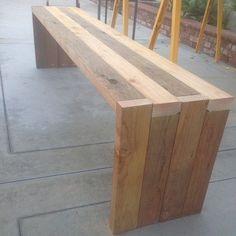 "This is cool, DIY bench. Pinner said: ""I built this in about an hour or less with pocket-hole joinery. Diy Wood Projects, Furniture Projects, Wood Crafts, Diy Furniture, Furniture Plans, Outdoor Furniture Bench, System Furniture, Furniture Chairs, Rustic Furniture"