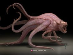 Monster in digital painting Monster Concept Art, Alien Concept, Fantasy Monster, Monster Art, Dark Creatures, Alien Creatures, Mythical Creatures, Creature Feature, Creature Design