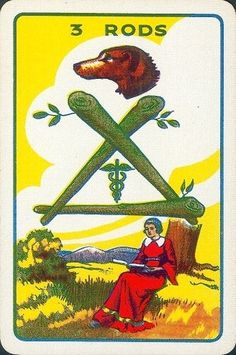 Three of Rods - Thomson-Leng Tarot