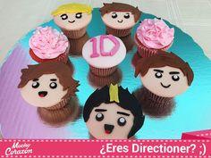 Cupcakes en fondant con las caras de caricatura de One Direction ♥  #MuchoCorazón #ReposteríaCasera