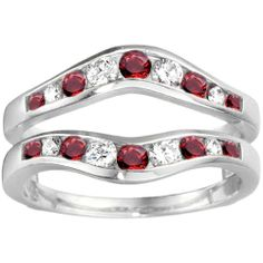 Wedding Ring Guard set in Sterling Silver (0.7 CT. Diamonds and Ruby)