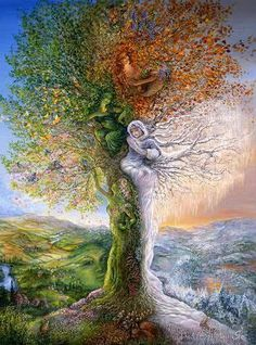 Josephine Wall - Tree of Four Seasons Revisited. Each of the four seasons is depicted in this special tree. Josephine Wall, Graffiti Kunst, Heaven On Earth, Tree Art, Tree Of Life Artwork, Mother Earth, Mother Nature, Amazing Art, Awesome Paintings