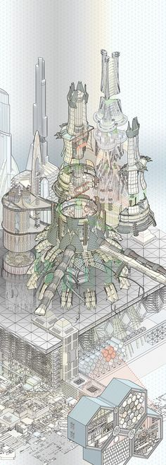 New Angeles Arcology Cutaway by Kirsten Zirngibl