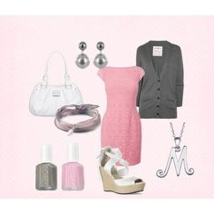 Girly Pink and Grey outfit, pretty for work