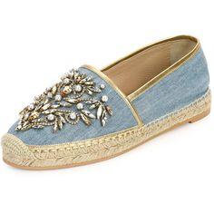 Rene Caovilla crystal-embellished denim espadrille.  Flat heel.  Jute-capped toe.  Metallic trim.  Braided jute midsole.  Slip-on style.  Made in Spain.