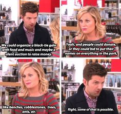 Leslie and Ben -- Parks and Recreation. Parks And Rec Memes, Parks And Recs, Parks And Recreation, Geek Charming, Parks Department, Leslie Knope, Love Park, Funny Text Posts, Cutest Couple Ever