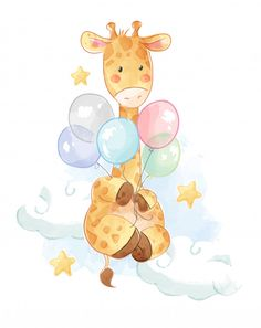 Cartoon giraffe with colorful balloons illustration. - Cartoon giraffe with colorful balls illust … Balloon Illustration, Watercolor Illustration, Watercolor Artists, Watercolor Painting, Baby Animal Drawings, Cute Drawings, Elephant Nursery, Nursery Art, Baby Shower Background