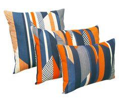 Textured Stripe Cushion: Blue, Navy, Orange - Tamasyn Gambell - A responsive Shopify theme Orange Sofa, Orange Cushions, Orange Bedding, Small Cushions, Striped Cushions, Striped Rug, Blue Orange, Blue Grey, Cushion Pads