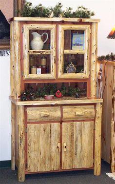 Amish Rustic Cedar Log Furniture Kitchen Hutch