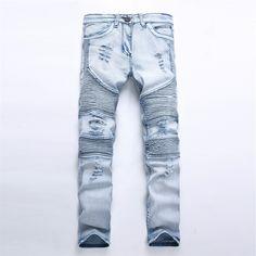 34.59$  Buy now - https://alitems.com/g/1e8d114494b01f4c715516525dc3e8/?i=5&ulp=https%3A%2F%2Fwww.aliexpress.com%2Fitem%2FEuropean-Style-2016-New-Mens-Ripped-Fold-Biker-Jeans-Male-Fashion-Slim-Blue-Elastic-Moto-Jeans%2F32753353043.html - European Style 2016 New Mens Ripped Fold Biker Jeans Male Fashion Slim Blue Elastic Moto Jeans For Men Straight Hole Denim Pants