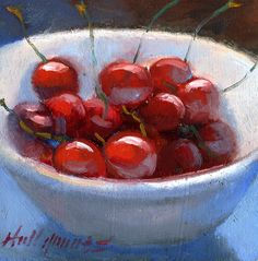 """Mouse over image to zoom                              Have one to sell? Sell it yourself           Cherries in a White Bowl - Classical 6""""x6"""" Original Oil panel HALL GROAT II"""