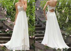 Chiffon Beach Wedding Dress White / Ivory Chiffon Gown bride wedding dress formal evening dress party dress, long wedding dress on Etsy, $129.00