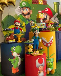 Super Mario Cake, Super Mario Birthday, Mario Birthday Party, 5th Birthday Party Ideas, Birthday Themes For Boys, Super Mario Party, Baby Party, Boy Birthday, Video Game Party
