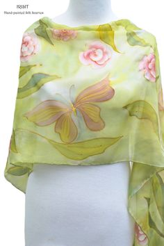 Long floral silk scarf hand painted - green light pink gold silk wrap - natural pure silk roses scarf - Pastel elegant wrap - gift for her
