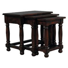 3 Piece Plank Top Nesting Table Size - 25W x 15.25D x 21.5H in. by Furniture Classics. $737.50. Features small table with lower shelf and spindle legs. Crafted from rich acacia wood. Plank style table top to display favorite accent pieces. Heavily distressed, old world finish. Overall dimensions: 15.25W x 25D x 21.5H inches. About Furniture Classics Ltd. Based in Norfolk, Va., Furniture Classics Ltd. is dedicated to producing authentic solid wood...