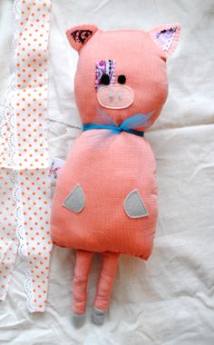 stuffed pig, pig handmade toy