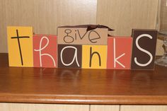 Give Thanks with Ribbon- Fall, Thanksgiving table top decor, mantle and shelf blocks