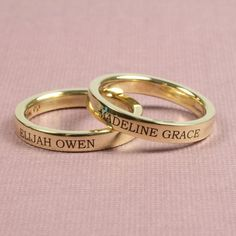 Engraved 3mm 14K Yellow Gold Bands - Mothers Day Goodies for a lucky Mom. So slender and understated. Lovely.