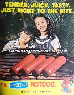 PUREFOODS HOTDOGS , the country's largest-selling hotdog, is a well-loved brand with a long advertising history. Filipino Art, Filipino Culture, Philippines Culture, Manila Philippines, Retro Ads, Vintage Ads, Johnson Wax, Disney Princess Memes, Advertising History