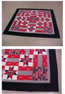 Arkansas Razorback quilt. Pattern: Number 1 Fan. Would be great quilt for any mascot.