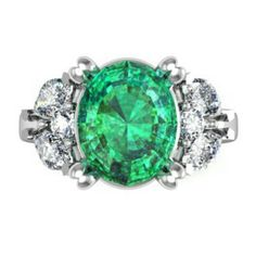 Oval Cut Emerald and Diamond Ring - Angelo's Creations - Arden Jewelers