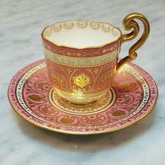 Antique Cauldon England Demitasse Cup Saucer Raised Gilt Enamel Handpaint Rococo #Rococo #CauldonLtdEngland