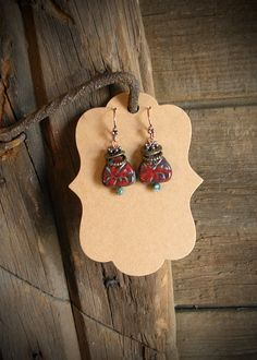 Triangle Picasso Red Carved Glass Earrings by HuntandGatherStyleDS