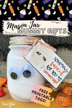Mason Jar Mummy Candy Gifts + Printable Tags