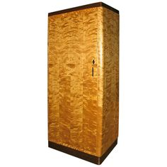 Large Swedish Art Deco Armoire in Highly Figured Flame Birch and Walnut