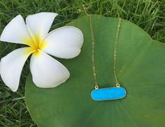 Turquoise Bar Necklace Gold Plated by BohemianTreasureSHOP Gold Bar Necklace, Boho Necklace, Gemstone Necklace, Pendant Necklace, Turquoise Pendant, Turquoise Necklace, Sleeping Beauty Turquoise, Minimalist Necklace, Gemstones