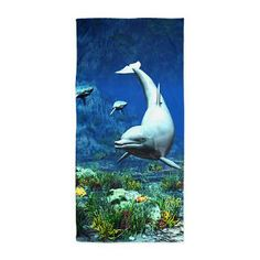Gatterwe: Underwater World Beach Towel: A beautiful underwater scene with a dolphin, sharks and other tropical fish! Bath Products, Underwater World, Tropical Fish, Sharks, Beach Towel, Dolphins, Scene, Fun, Painting