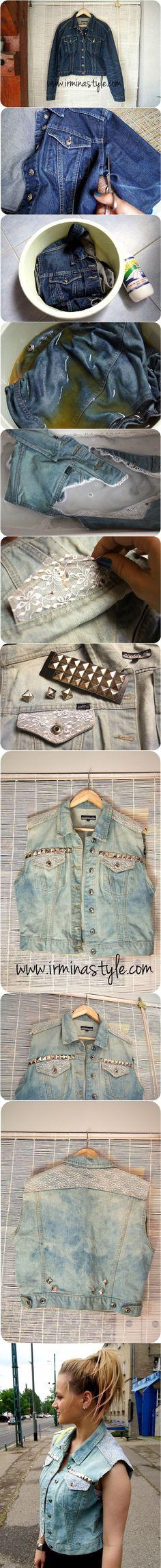 новая одежда для дочки из старой надоевшей джинсовой куртки...