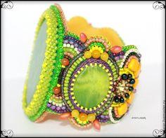 """Купить Браслет """"Tropic"""" - крупный браслет, браслет вышитый бисером, летний браслет, яркий браслет"""