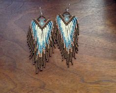 Sand and Surf Inverted Triangle feather like fringe bead earrings brown earth neutrals