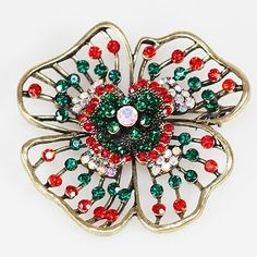 JS Two Dozen Green/Red Crystal Flower Brooches (24)