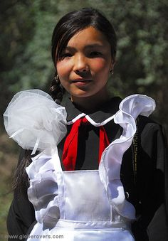 Most kids are quite well dressed for school with many boys wearing shiny 3-piece suits, village of Arslanbob, KYRGYZSTAN