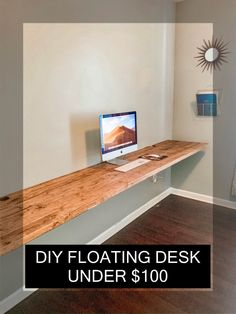 How to build a wood floating desk on a budget. How to build a wood floating desk on a budget. Diy Office Desk, Home Office Space, Home Office Design, Home Office Decor, House Design, Office Desks For Home, Diy Computer Desk, Men Office, Kids Office