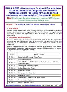 ISO 14001 sample forms Of Environment Management Plans (28 Sample Formats And 5 Filled EMP for 14001 certification) document kit covers sample copy of blank forms required to maintain iso records as well as establish control and make system in the organization.