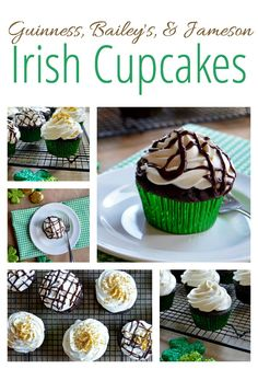 Guinness Bailey's & Jameson Irish Cupcakes - chocolate stout cupcakes Irish whiskey whipped cream and an Irish cream chocolate ganache. Perfect for St. Party Desserts, Just Desserts, Delicious Desserts, Cupcake Recipes, Cupcake Cakes, Dessert Recipes, Cup Cakes, Chocolate Stout, Chocolate Ganache