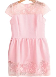 Pink Contrast Sheer Organza Flare Dress US$28.33