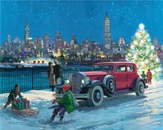 vintage art Christmas winter City Scene old car tree children sled Illustrations Poster, Car Illustration, Harry Anderson, Decoupage, Building An Empire, City Scene, Collaborative Art, Automotive Art, Car Painting