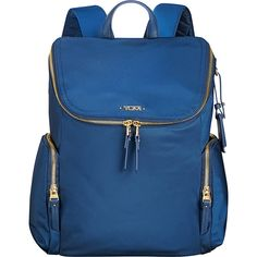 Tumi Voyageur Lexa Zip Flap Backpack - Ocean Blue - Laptop Backpacks ($295) ❤ liked on Polyvore featuring bags, backpacks, blue, leather rucksack, leather laptop backpack, laptop rucksack, tumi backpack and blue backpack